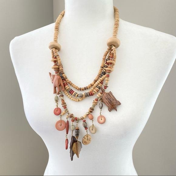 Vintage boho wooden carved animal necklace